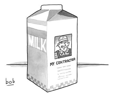 A Carton Of Milk Sits On A Table With A Photo Poster by Bob Eckstein