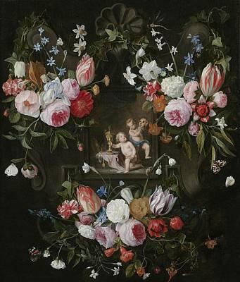 A Cartouche Still Life Of Flowers Poster