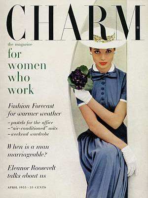 A Charm Cover Of A Model In A Blue Dress Poster by Carmen Schiavone