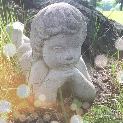 A Cherub Angel In The Grass Poster by Amy Cicconi