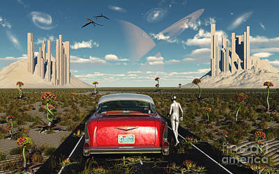 A Chevrolet Car On A Highway To Nowhere Poster