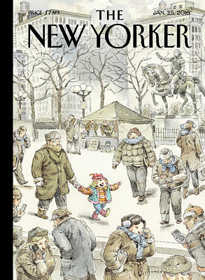 A Child Among Adults In The Cold Poster by John Cuneo