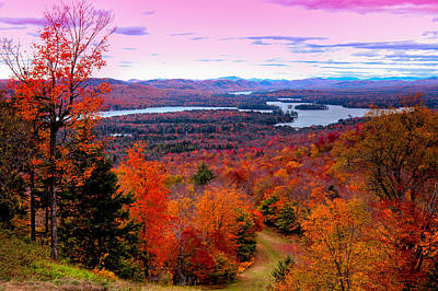 A Chilly Autumn Day On Mccauley Mountain Poster by David Patterson