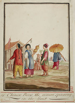 A Chinese Woman Holding A Spindle Poster