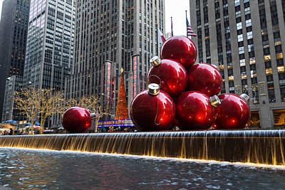 A Christmas Card From New York City - Radio City Music Hall And The Giant Red Balls Poster by Georgia Mizuleva