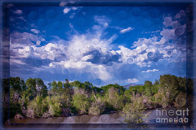 A Cloudy Afternoon Abstract Landscape Painting Poster