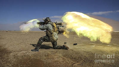 A Coalition Force Member Fires A Carl Gustav Recoilless Rifle System Poster by Paul Fearn
