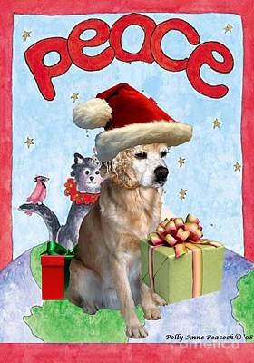 Poster featuring the digital art A Cocker Spaniel's Christmas Greeting Card by Polly Peacock