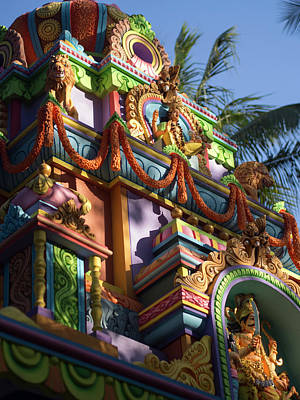 A Colorful Hindu Temple Is Decorated Poster by David H. Wells