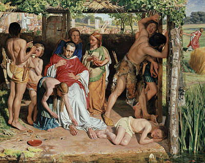 A Converted British Family Sheltering A Christian Missionary From The Persecution Of The Druids Poster by William Holman Hunt