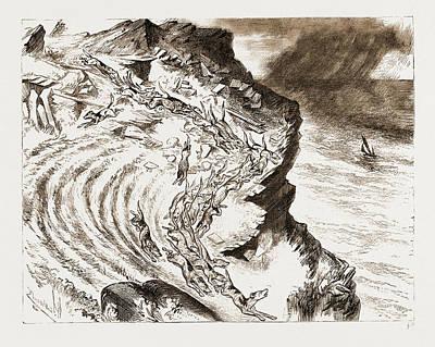 A Cornish Fox Hunt A Run Down The Cliff A Sketch Poster