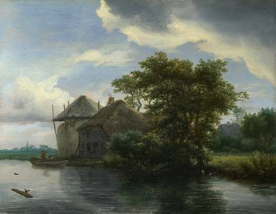 A Cottage And A Hayrick By A River Poster by Jacob van Ruisdael