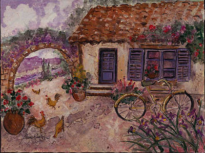 A Cottage In Provence Poster by Elaine Elliott