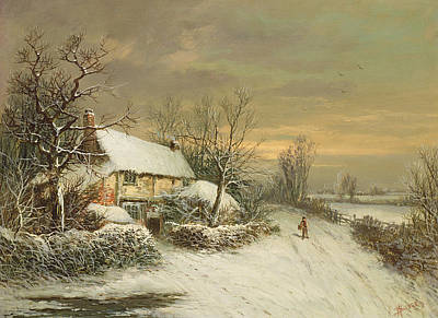 A Cottage In Winter, 19th Century Poster by William Oliver Stone