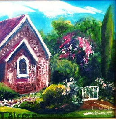 Poster featuring the painting A Country Church - Original Sold by Therese Alcorn