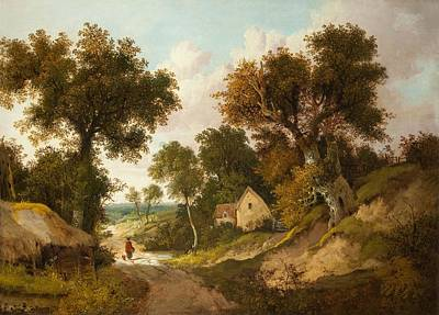 A Country Lane In Norfolk, 1878 Poster