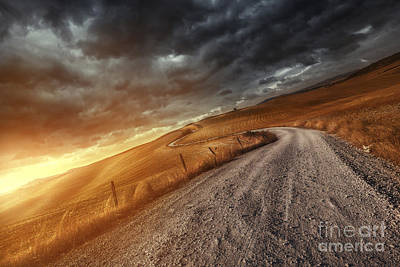 A Country Road In Field At Sunset Poster