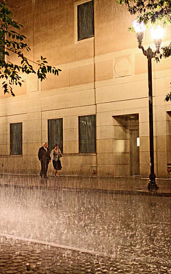 A Couple In The Rain Poster by Chris Fender