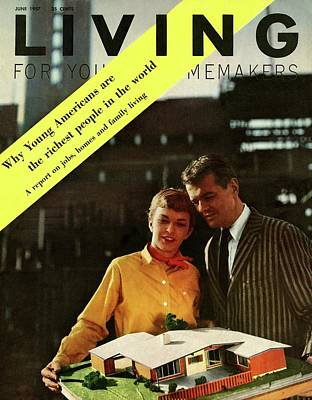 A Couple Looking At A Scale Model Of A House Poster by Burt Owen