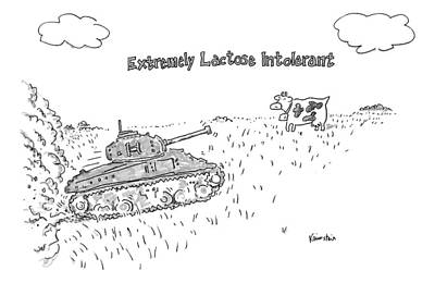 A Cow In A Pasture Watches As A Tank Approaches Poster
