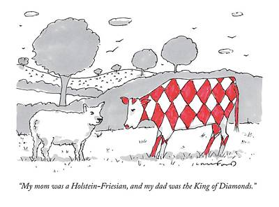 A Cow With A Red Diamond Spots Talks To Another Poster