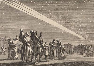 A Crowd Of People Sees A Comet, 1680-1681 Poster by Jan Luyken And Pieter Van Der Aa (i)