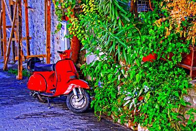 A Digitally Constructed Painting Of A Red Scooter In A Village Street Poster