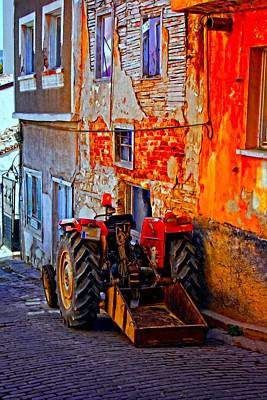 A Digitally Constructed Painting Of A Tractor Parked In A Village Street Poster