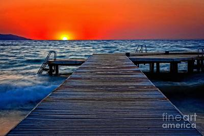 A Digitally Converted Painting Of A Wooden Pier At Sunset Poster