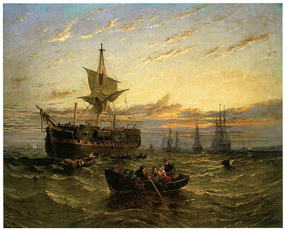 A Dismantled East Indiaman In The Thames Estuary Poster by William Adolphus Knell