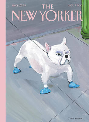 A Dog Wears Shoes On The City Sidewalk Poster by Maira Kalman