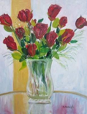 A Dozen Roses Poster by Marita McVeigh