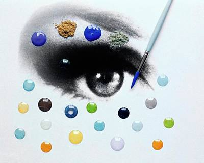 A Drawing Of An Eye With Colorful Contact Lenses Poster