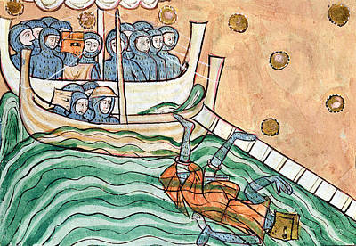 A Drowning Viking, Possibly Olav Trygvason 968-1000 Of Norway At The Battle Of Svold On 9th Poster by Anglo-Saxon