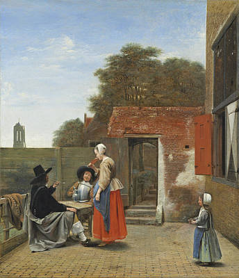A Dutch Courtyard, C.1658-60 Oil On Canvas Poster by Pieter de Hooch