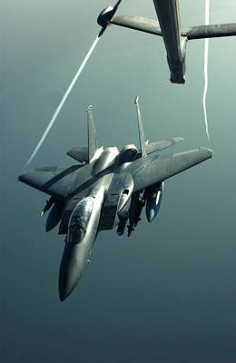 A F-15e Disengaging From A Kc-10 Poster