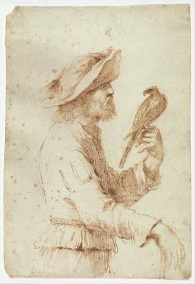 A Falconer In Profile To The Right Poster