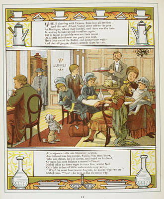 A Family Having Refreshments In A Buffet Poster by British Library