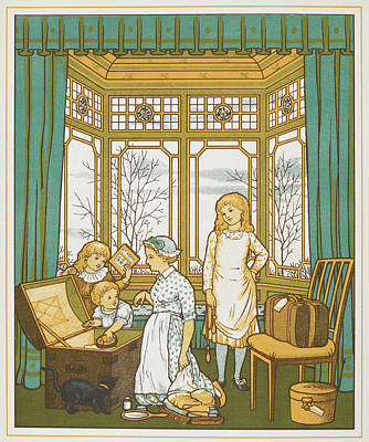 A Family Packing For A Holiday Poster by British Library