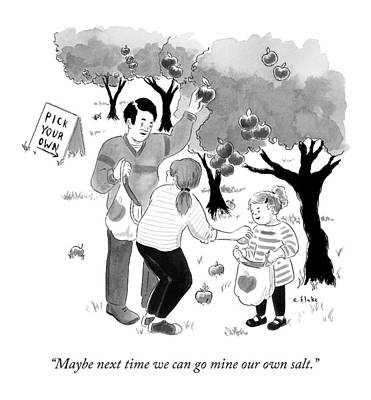 A Family Picks Apples Right From The Tree Poster by Emily Flake