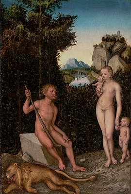 A Faun And His Family With A Slain Lion Lucas Cranach Poster by Litz Collection