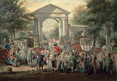 A Fiesta In A Botanical Garden, 1775 Oil On Canvas Poster by Luis Paret y Alcazar