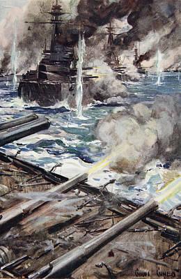 A Fleet Of Battleships Firing Poster by Cyrus Cuneo