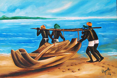 Poster featuring the painting A Float On The Ocean by Ragunath Venkatraman