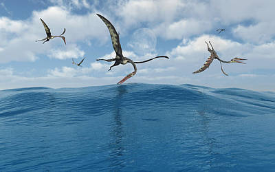 A Flock Of Quetzalcoatlus Fishing Poster by Mark Stevenson