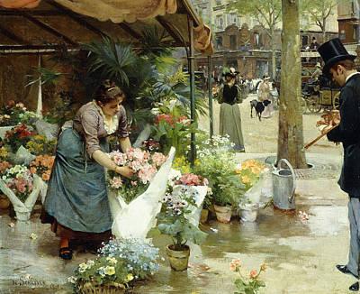 A Flower Market In Paris Poster by Louis de Schryver