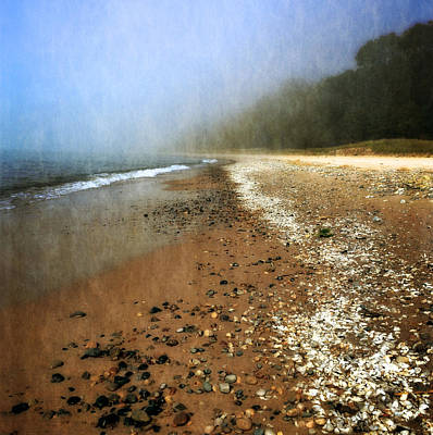 A Foggy Day At Pier Cove Beach 2.0 Poster by Michelle Calkins