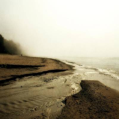 A Foggy Day At Pier Cove Beach Poster by Michelle Calkins