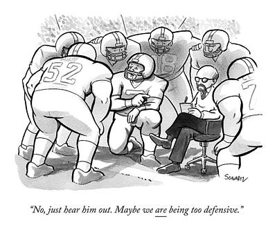A Football Team Huddles Around A Therapist Poster