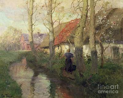 A French River Landscape With A Woman By Cottages Poster